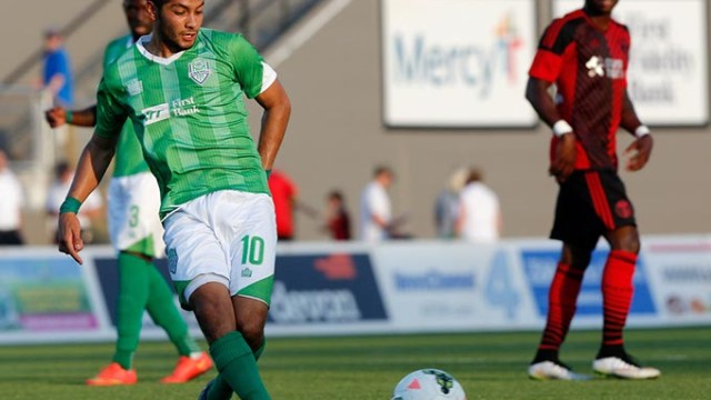Oklahoma CIty's Chuy Sanchez (10) during a game between Energy FC and T2 at Taft Stadium in Oklahoma City, Friday, June 5, 2015.  (Garett Fisbeck)