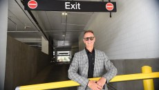 Anthony McDermid, principal of TAP Architecture, at an exit of The Arts District Garage which he designed.  mh