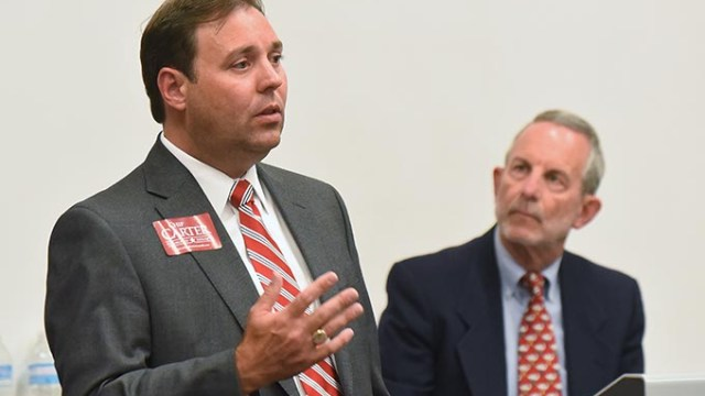 House District 85 candidate, Chip Carter, with moderator Charlie Potts listening, during a forum with other candidates held at the Northwest Library on July 22.  mh