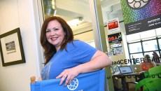 Kim Haywood, program director for the DeadCENTER Film Festival, at their offices on Film Row.  mh