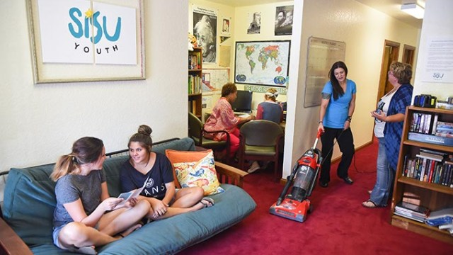 Volunteers get aquanted, clean up, and go over intake proceedures, at the Sisu Youth day center located at 1225 Sovereign Row in OKC.  mh