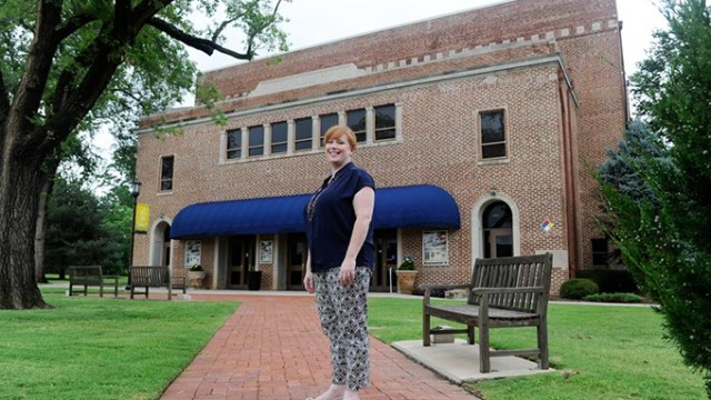 Meghan Braseull, Director of Facilities and Productions for Mitchell Hall, poses for a photo on the University of Central Oklahoma Campus, Tuesday, July 7, 2015.  (Garett Fisbeck)