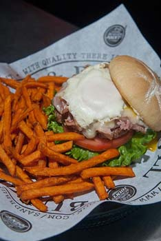 The Frankenburger with sweet potatoe fries, at S&B Burger Joint in Norman.  mh
