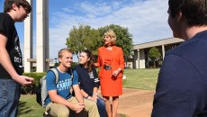 Dr. Jeanie Webb, President of Rose State College, chats with a group of students out on the campus, 9-24-15.  (Mark Hancock)