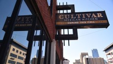 New sign of things to come, Cultivar Mixican Kitchen on Broadway Avenue in with Downtown skyline, 11-12-15.  (Mark Hancock)