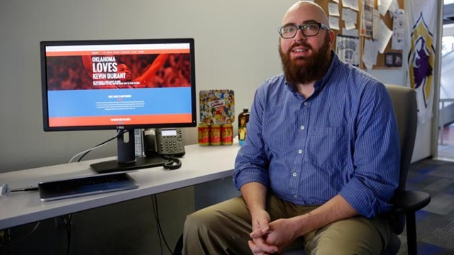 Ben Parker poses for a photo in front of his computer in Oklahoma City, Tuesday, Nov. 17, 2015.  (Garett Fisbeck)
