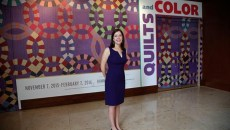 Catherine Shotick, coordinating curator, during the Quilts and Color Media tour, Wednesday, November 4, 2015.  (Garett Fisbeck)