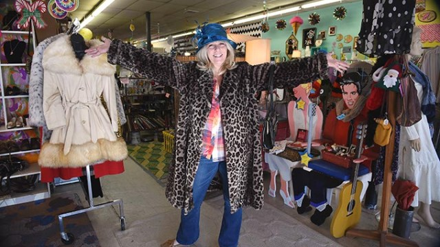 For Peculiar People Day, Bad Granny herself, Diana Harris, owner of Bad Granny's Bazaar, in the Plaza District of Oklahoma City, 12-16-15.  (Mark Hancock)