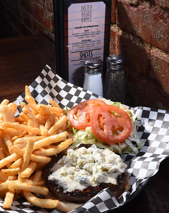 A Blackened Bleu Cheese Burger at Deep Deuce Grill (Mark Hancock)