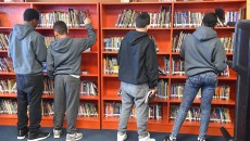 Students in the library at Justic Alma Wilson Seeworth Academy South Campus, 3806 N. Prospect Avenue, Oklahoma City, 1-13-16.  (Mark Hancock)