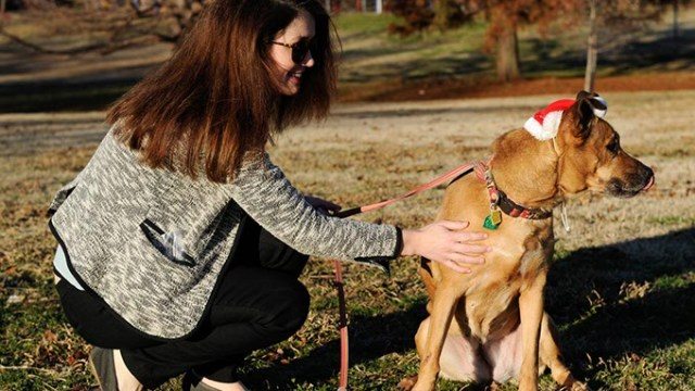 Allison Peterson walks Cabella at Flower Garden Park in Oklahoma City, Wednesday, Dec. 16, 2015.  (Garett Fisbeck)