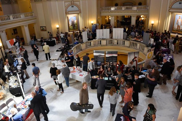 Arts organizations gather May 4 at Oklahoma Arts Day at the Oklahoma State Capitol. Many shared concerns about a proposal to consolidate the Oklahoma Arts Council into another state department. (Garett Fisbeck)