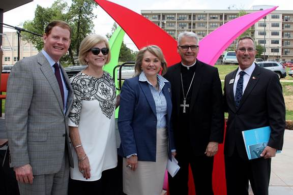 Community leaders from left Bob Ross, Judy Love, Gov. Mary Fallin, Archbishop John Coakley and Patrick Raglow attended the recent ribbon-cutting ceremony for Catholic Charities' new facility. Photo Catholic Charities Archdiocese of Oklahoma City / provided