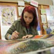 Brooke Kephart, a recent graduate of Canton High School works on an assignment at Oklahoma Summer Arts Institute at Quartz Mountain. | Photo Laura Eastes
