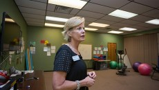 Clinical Director, Cindy Stober,  gives a tour of the Gateway Prevention and Recovery fitness room on Wednesday, June 29, 2016 in Shawnee, Oklahoma.  (Emmy Verdin)