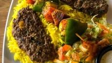 Kofta and veggie kabob at Couscous Cafe, 8-26-2016, Oklahoma City.  (Mark Hancock)