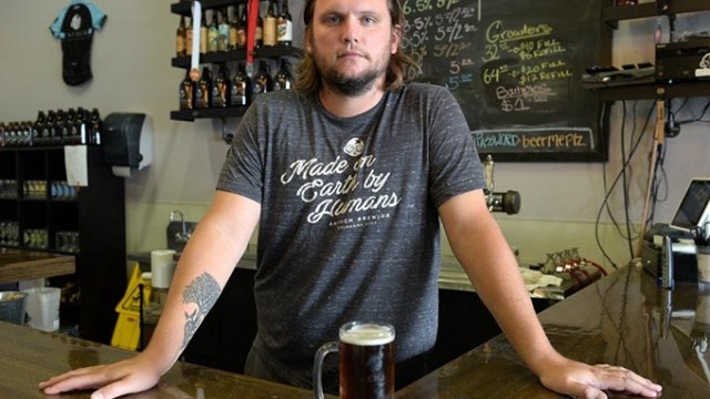 Patrick Lively, president and head brewer at Anthem Brewing Co., Tuesday, Sept. 13, 2016.  (Garett Fisbeck)