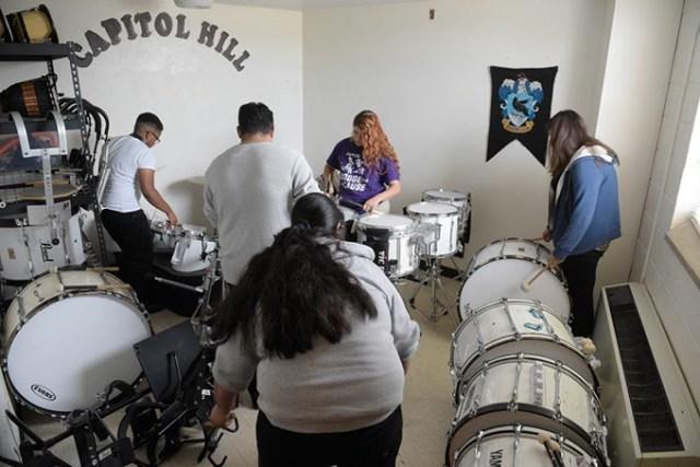 Drummer rehearse at Capitol Hill High School, Tuesday, Oct. 25, 2016.  (Garett Fisbeck)