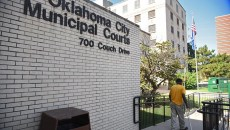 The old OKC Municipal Courts, across the street from new construction.  mh