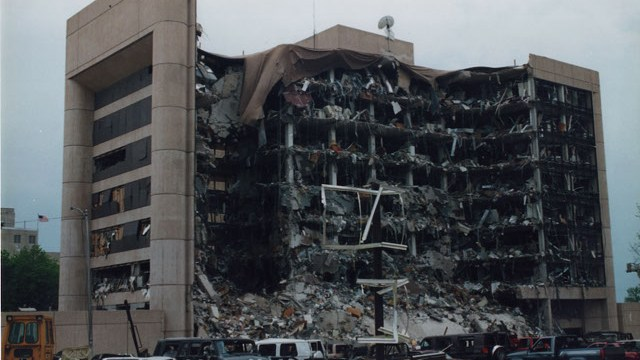 The Alfred P. Murrah building after the 1995 bombing | Photo Jon Hersley / Public Broadcasting Service / provided