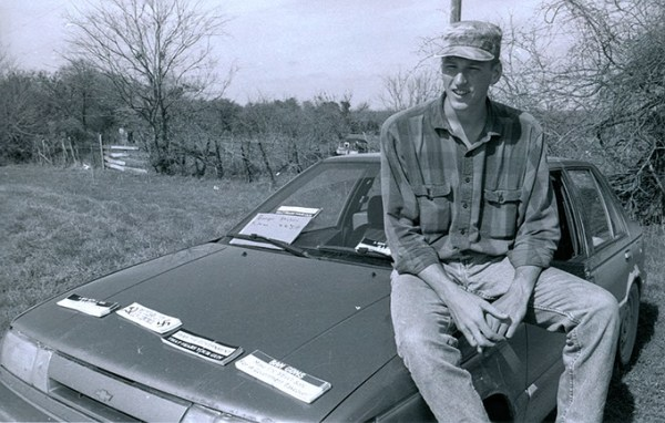 Timothy McVeigh selling bumper stickers outside Branch Davidian compound during the 1993 federal siege. (Oklahoma City National Memorial and Museum / Public Broadcasting System / provided)