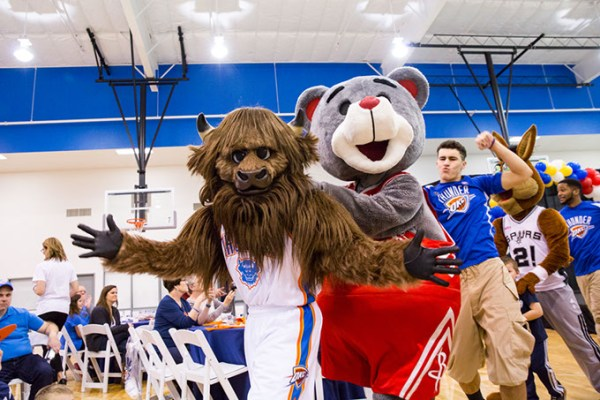 Six mascots join Rumble at this year's Breakfast with Rumble fundraiser. (Zach Beeker / Oklahoma City Thunder / provided)