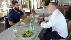 OKC Energy keeper Cody Laurendi talks with Executive Chef Angelo Cipollone at CoolGreens, Wednesday, Jan. 25, 2017.  (Garett Fisbeck)