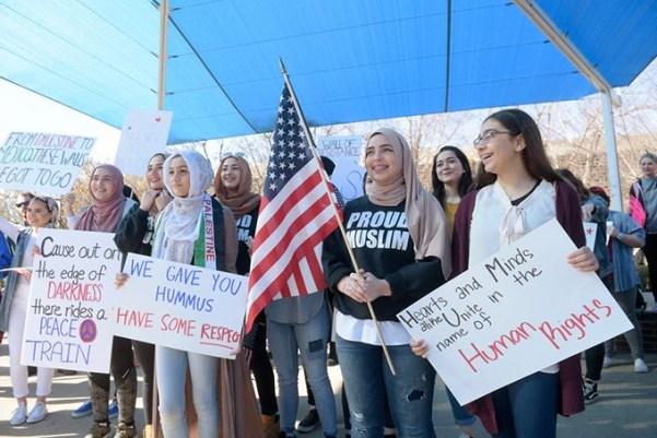 Demonstrators during a #NoBanNoWall rally at the University of Central Oklahoma last week (Garett Fisbeck)