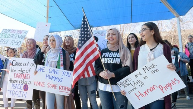 Demonstrators during a #NoBanNoWall rally at the University of Central Oklahoma, Wednesday, Feb. 1, 2017.  (Garett Fisbeck)