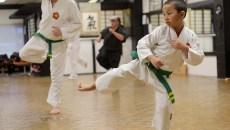 Ethan Nguyen, 7, and Robert Walker, 60, during a karate class at Okinawa Karate School, Thursday, Jan. 5, 2017.  (Garett Fisbeck)