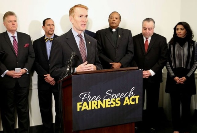 U.S. Sen. James Lankford speaks at a Washington, D.C. press conference with pastors and faith leaders to announce The Free Speech Fairness Act. (Provided)