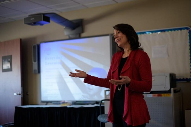 Stacy Dykstra teaches an Early Bird class at Metro Technology Center. (Garett Fisbeck)