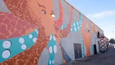 Jack Fowler works on his mural in Bricktown, Thursday, Dec. 1, 2016.  (Garett Fisbeck)