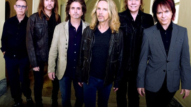 "MACON, GA - OCTOBER 04:  Rock Group STYX L/R: Chuck Panozzo, Ricky Phillips, Todd Sucherman, Tommy Shaw, James ""J.Y."" Young and Lawrence Gowan. Portrait shoot at Macon City Auditorium on October 4, 2014 in Macon, Georgia.  (Photo by Rick Diamond/Getty Images for STYX)"
