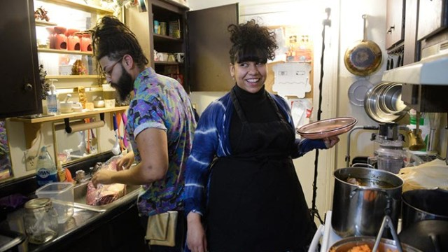 Cidward St Cler and her husband Shraz Mercier cook tamales in their kitchen, Tuesday, March 21, 2017.  (Garett Fisbeck)