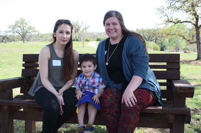 Karla Andazola <em>left</em> and her son Adan completed Children First, Oklahoma's family-nurse partnership program, in June. Spring Hodges <em>right</em> was their home visiting nurse. (Laura Eastes)