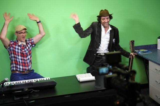 Chris Wiser <em>left</em> and co-host Tyson Meade perform during a live episode of <em>Wiggle Out Loud TV</em>. (Travis Doussette / provided)