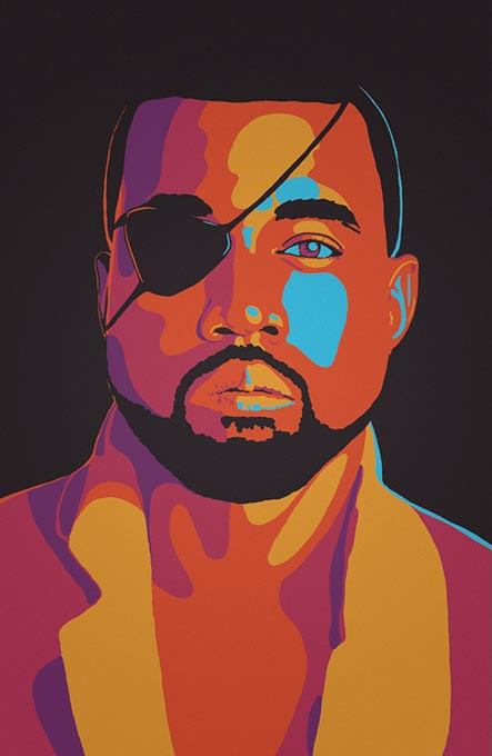 An art piece designed by Michael Allen for 808s & Solid Snake: A Kanye West/Metal Gear Art Show (Image provided)
