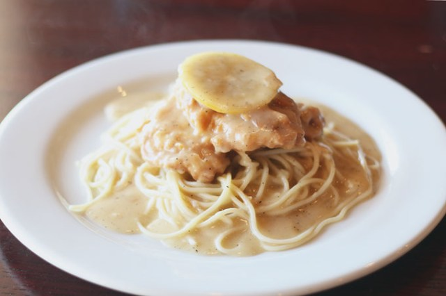 <em>Francese</em>, egg batter-dipped fried chicken over spaghetti with a white wine, lemon and cream sauce (Cara Johnson)