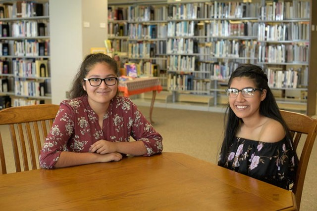 High school students Vanessa Ramos and Alexandra Molina spoke about their experiences with the EXCELerate Dove program offered through a partnership with Oklahoma State University-Oklahoma City and Dove Science Academy. (Garett Fisbeck)