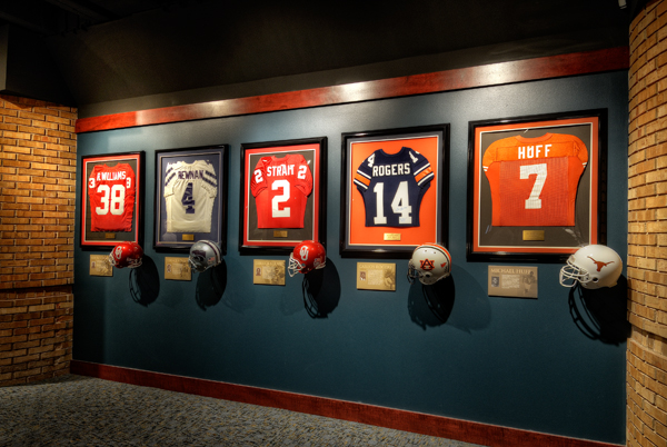 Jerseys on display in a gallery at Jim Thorpe Museum & Oklahoma Sports Hall of Fame (provided)