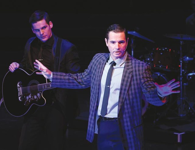 Corbin Mayer <em>left</em> portrays Johnny Cash and Jeff Jeffers is Sun Records owner Sam Phillips in <em>Million Dollar Quartet</em>. (Charles Quinn / provided)