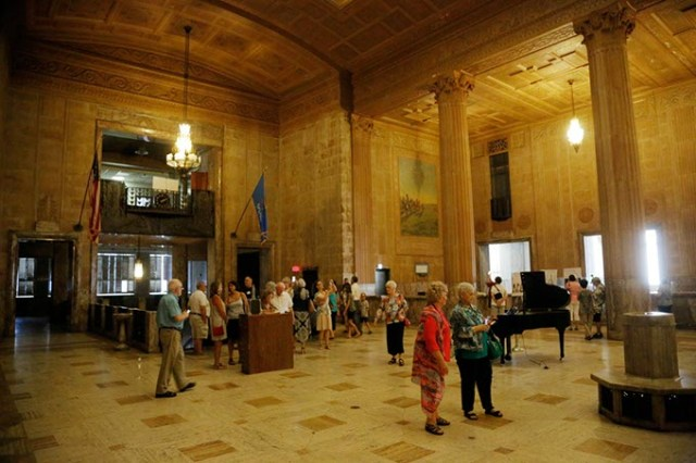 The public was invited to walk through First National Center's Great Banking Hall and basement banking vaults as part of a pre-construction open house last week. (Garett Fisbeck)