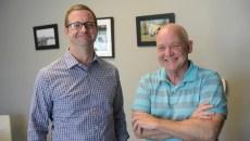 Dan Staughan and Jerod Shadid at the Homeless Alliance, Thursday, June 22, 2017.  (Garett Fisbeck)