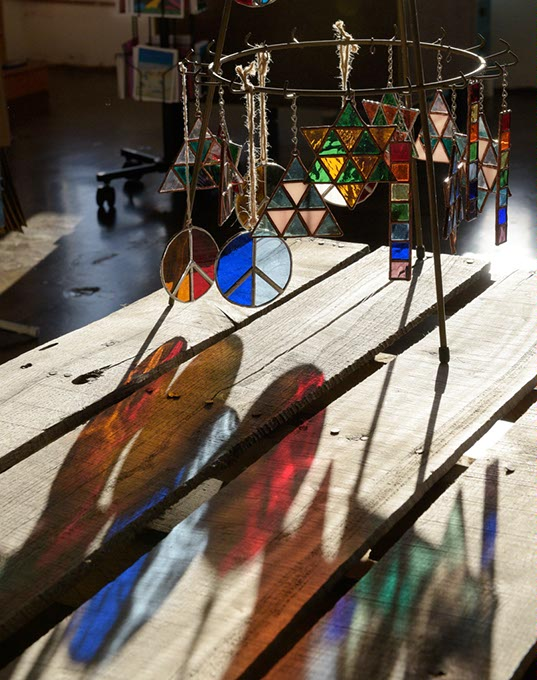 James Rogers King sells his one-of-a-kind stained glass suncatchers at his JRK Studios in Oklahoma City. (Garett Fisbeck)