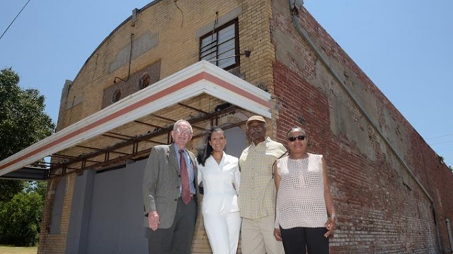John McConnel, Karen Wallace Douglas, Arthur Hurst, and Sherri Williams, poses for a photo at the Jewel Theatre, Wednesday, June 28, 2017.  (Garett Fisbeck)