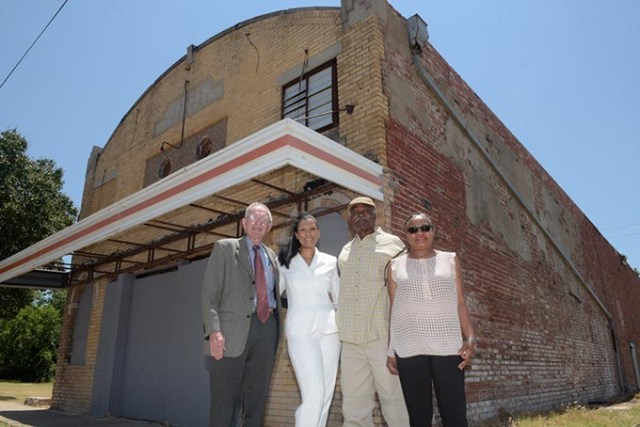 <em>from left</em> John McConnel, Karen Wallace Douglas, Arthur Hurst and Sherri Williams are working to raise funds to restore Jewel Theatre. (Garett Fisbeck)