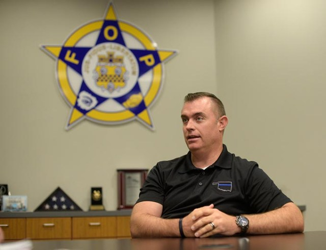Mark Nelson, who serves as vice president of the Oklahoma City Fraternal Order of Police Lodge 123, supports the proposed quarter-cent permanent sales tax, which would generate funding to hire 129 more police officers. (Garett Fisbeck)