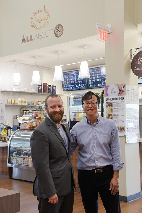 Jefferson Killgore and Chang Yi at All About Cha at the MAPS 3 Senior Health and Wellness Center (Garett Fisbeck)
