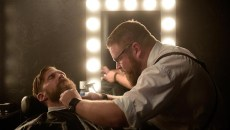 Joel Robinson trims Ben Grunewald's beard at the newly opened Manscape & Massage Clinic. (Garett Fisbeck)